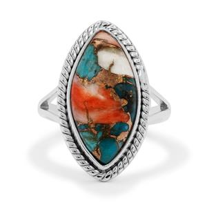 Oyster Copper Mojave Turquoise Ring in Sterling Silver 8cts