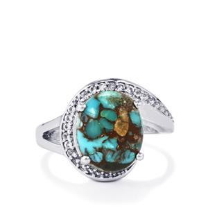 Egyptian Turquoise Ring with White Topaz in Sterling Silver 5.35cts