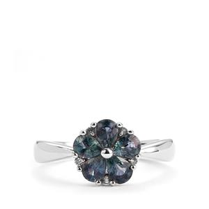 Tunduru Color Change Sapphire Ring with White Topaz in Sterling Silver 1.54cts