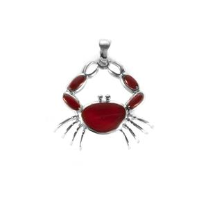 Carnelian Crab Pendant in Sterling Silver 6cts