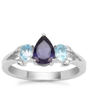Bengal Iolite, Swiss Blue Topaz Ring with White Zircon in Sterling Silver 1.20cts