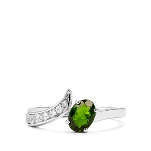 Chrome Diopside & White Zircon Sterling Silver Ring ATGW 1.16cts