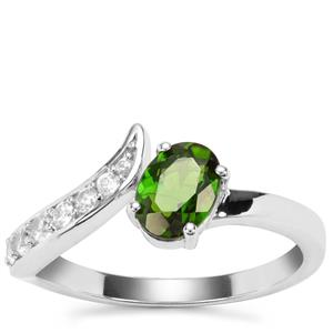 Chrome Diopside Ring with White Zircon in Sterling Silver 1.16cts
