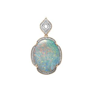 Crystal Opal on Ironstone Pendant with Diamond in 18K Gold