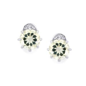 Optic Quartz & White Topaz Sterling Silver Centuple Earrings ATGW 4.28cts