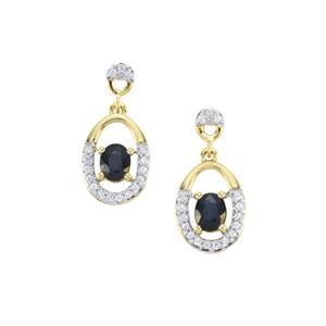 Sri Lankan Sapphire & White Zircon 9K Gold Earrings ATGW 1.13cts