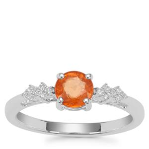 Mandarin Garnet Ring with White Zircon in Sterling Silver 1.24cts
