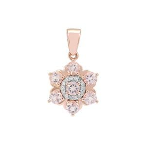 Cherry Blossom Morganite Pendant with Diamond in 9K Rose Gold 1.15cts