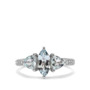 Espirito Santo Aquamarine Ring with White Zircon in Sterling Silver 1.69cts