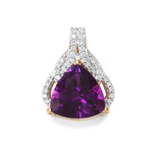 Moroccan Amethyst Pendant with Diamond in 18K Gold 3.34cts