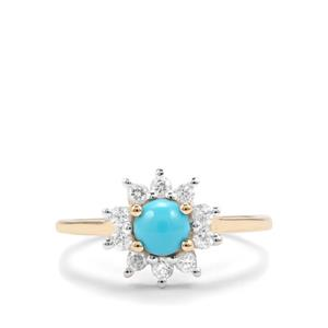 Sleeping Beauty Turquoise Ring with White Zircon in 9K Gold 1.09cts