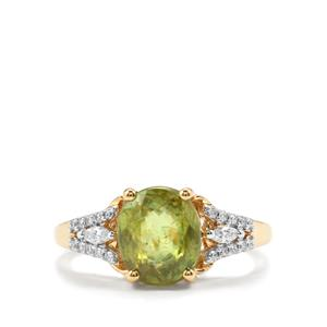 Ambilobe Sphene & Diamond 18K Gold Tomas Rae Ring MTGW 2.05cts