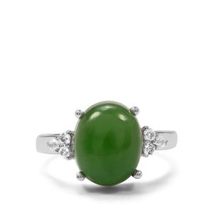 Genuine Jade & White Topaz Sterling Silver Ring ATGW 5.70cts