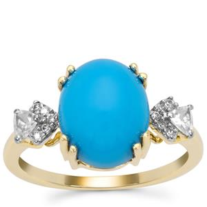 Sleeping Beauty Turquoise Ring with White Zircon in 9K Gold 3.98cts