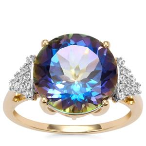 Mystic Blue Topaz Ring with White Zircon in 9K Gold 7.83cts
