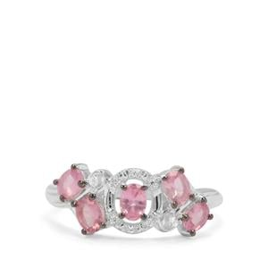 Mozambique Pink Spinel & White Zircon Sterling Silver Ring ATGW 0.96ct