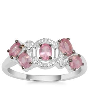 Mozambique Pink  Spinel Ring with White Zircon in Sterling Silver 0.96ct