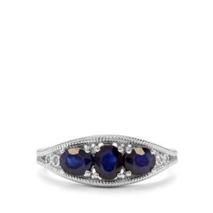 Sri Lankan Sapphire & Diamond 9K White Gold Ring ATGW 1.40cts