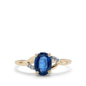 Daha Kyanite Ring with Diamond in 10K Gold 1.55cts