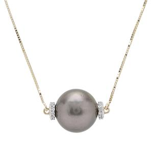 Tahitian Cultured Pearl Necklace with White Zircon in 9K Gold (13mm)