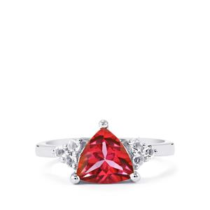 Mystic Pink Topaz Ring with White Topaz in Sterling Silver 2.20cts