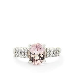 Mawi Kunzite & White Topaz Sterling Silver Ring ATGW 2.71cts