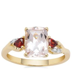 Alto Ligonha Morganite Ring with Red Garnet & White Zircon in 9K Gold 2.16cts