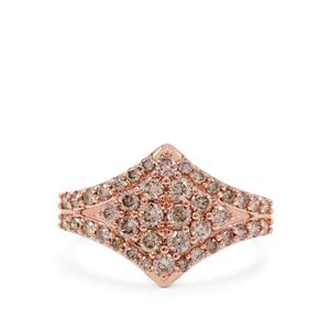 Champagne Argyle Diamond Ring in 9K Rose Gold 1cts