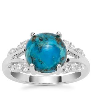 Bonita Blue Turquoise Ring with White Zircon in Sterling Silver 3.90cts