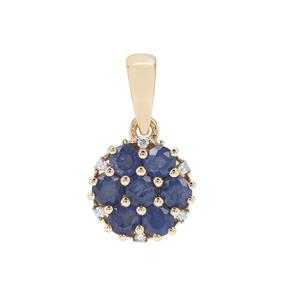 Burmese Blue Sapphire Pendant with Diamond in 9K Gold 1.22cts