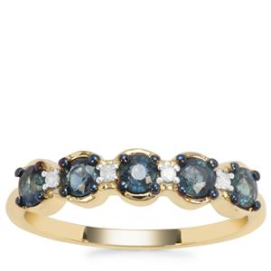 Nigerian Blue Sapphire Ring with Diamond in 9K Gold 0.81ct