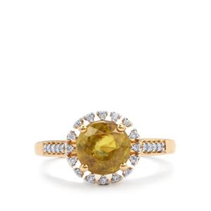 Ambilobe Sphene & Diamond 18K Gold Tomas Rae Ring MTGW 2.37cts