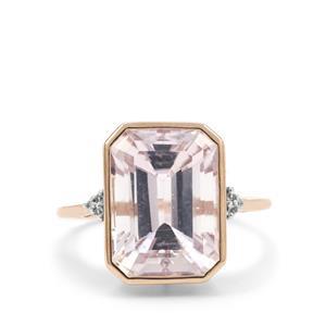 Kolum Kunzite Ring with White Zircon in 9K Rose Gold 9.35cts