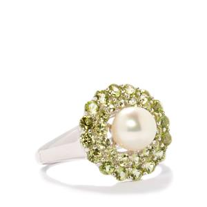 Freshwater Cultured Pearl Ring with Peridot in Sterling Silver 1.66cts