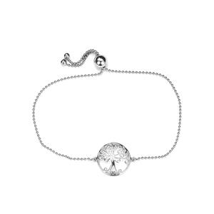 Rhodium Plated Sterling Silver Altro Slider Tree of Life Bracelet 2.05g