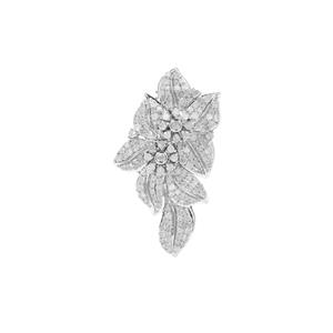 Diamond Brooch in Sterling Silver 1.53cts