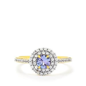 Tanzanite Ring with White Zircon in Vermeil 1.15cts