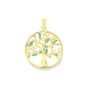 Carnaiba Brazilian Emerald Pendant with White Topaz in Gold Plated Sterling Silver 0.59ct