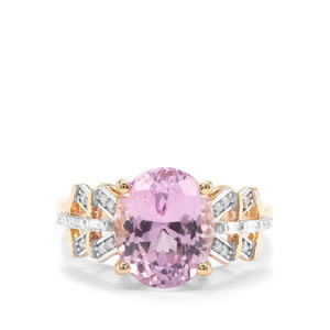 Mawi Kunzite Ring with Diamond in 18K Gold 4.88cts