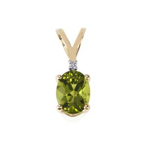 Changbai Peridot Pendant with Diamond in 10k Gold 1.93cts