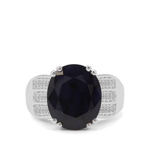 Madagascan Blue Sapphire Ring with White Zircon in Sterling Silver 8.59cts