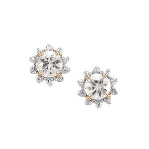 Singida Tanzanian Zircon Earrings with Diamond in 10k Gold 2cts