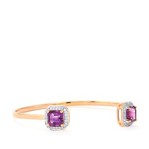 Moroccan Amethyst Cuff with White Zircon in Rose Gold Vermeil 5.05cts