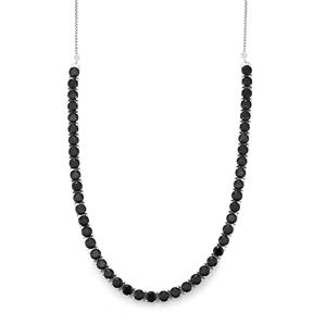 Black Spinel Slider Necklace in Sterling Silver 31.20cts