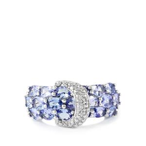 Tanzanite & White Topaz Sterling Silver Ring ATGW 3.21cts