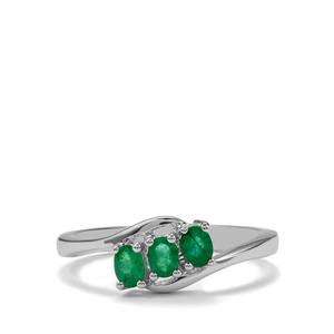 0.38ct Zambian Emerald Sterling Silver Ring