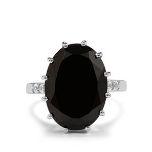 Black Spinel & White Topaz Sterling Silver Ring ATGW 14.22cts