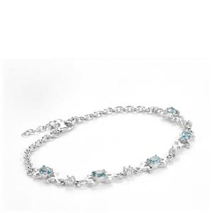 Ratanakiri Blue Zircon Bracelet with White Topaz in Sterling Silver 2.79cts