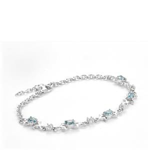 Ratanakiri Zircon Bracelet with White Topaz in Sterling Silver 2.79cts