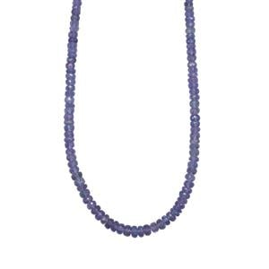 Tanzanite Graduated Bead Necklace in Platinum Plated Sterling Silver 70cts